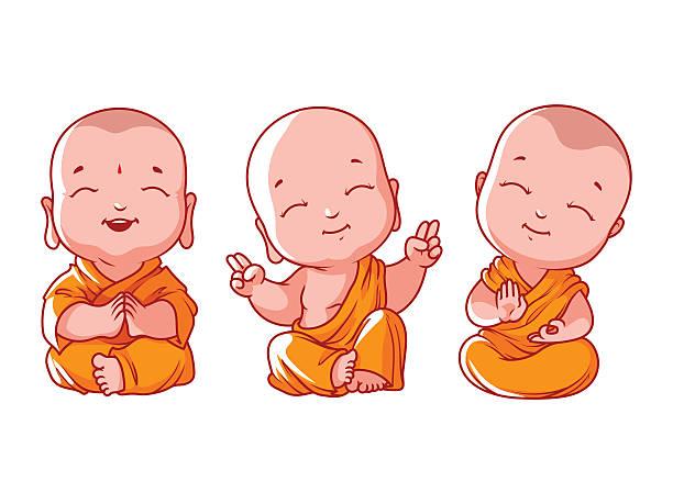 Set of little meditating monks. vector art illustration