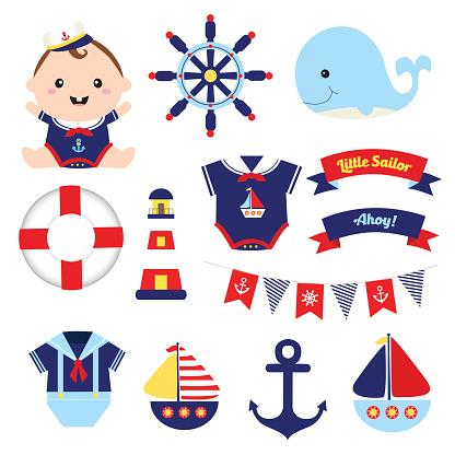 set of little sailor nautical element vector