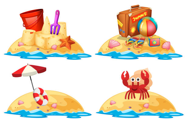 Set of little sand islands vector art illustration