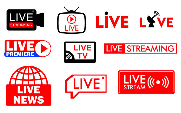 set of live streaming icon or live broadcasting online concepts. eps 10 vector. set of live streaming icon or live broadcasting online concepts. eps 10 vector.   easy to modify broadcasting stock illustrations
