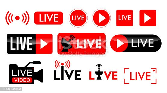 istock set of live streaming icon or live broadcasting online concepts. eps 10 vector. 1209135103