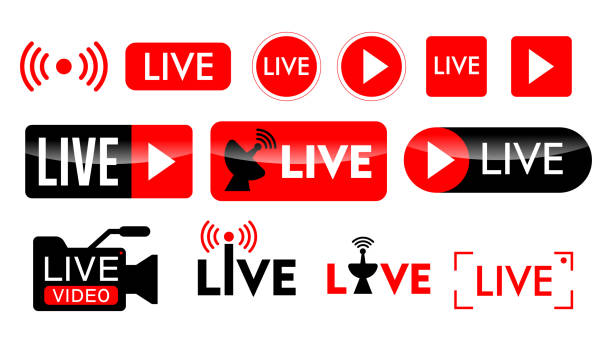 ilustrações, clipart, desenhos animados e ícones de conjunto de ícone de transmissão ao vivo ou conceitos online de transmissão ao vivo. eps 10 vetor. - live