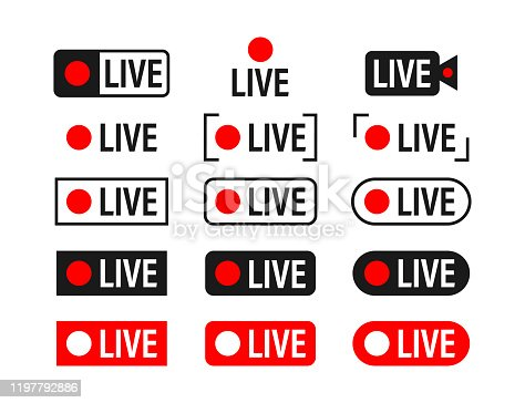 Set of live streaming icons. Broadcasting. Red symbols and buttons of live stream, online stream. Vector stock illustration