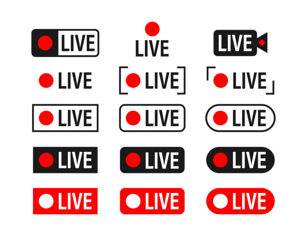illustrazioni stock, clip art, cartoni animati e icone di tendenza di set of live streaming icons. broadcasting. red symbols and buttons of live stream, online stream. vector stock illustration. - vitalità