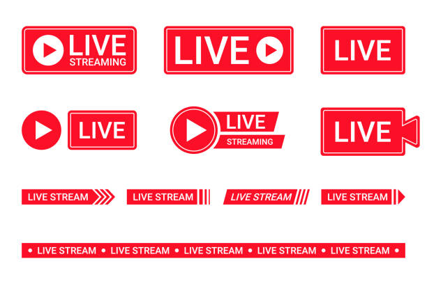 Set of live streaming icons. Red symbols and buttons of live streaming, broadcasting, online stream. Lower third template for tv, shows, movies and live performances vector art illustration