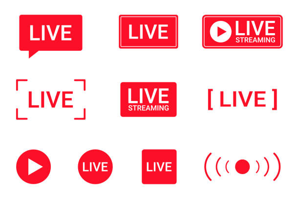 illustrazioni stock, clip art, cartoni animati e icone di tendenza di set of live streaming icons. red symbols and buttons of live streaming, broadcasting, online stream. lower third template for tv, shows, movies and live performances - telecomando background