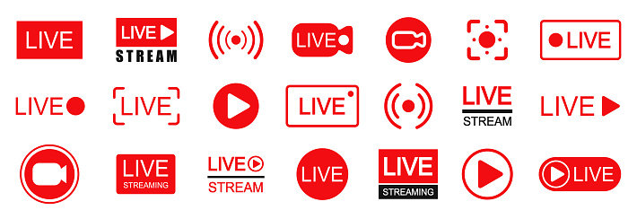 Set of live streaming icons. Set of video broadcasting and live streaming icon. Button, red symbols for TV, news, movies, shows - stock vector