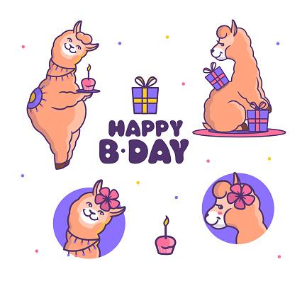 Set of llamas alpacas is on the birthday party. Cartoonish animals