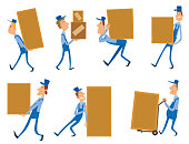 Vector cartoon image of a set of different funny porter men in blue overalls and caps, delivering various yellow boxes on a white background. Vector illustration of loader men.