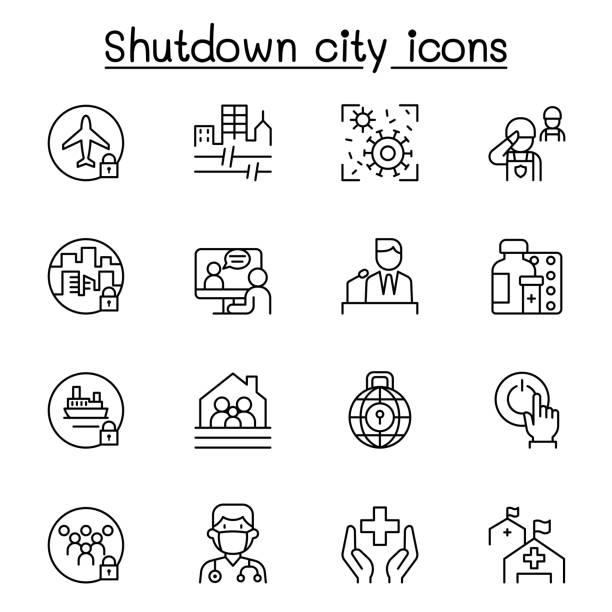 stockillustraties, clipart, cartoons en iconen met reeks van slot onderaan stad van viruscrisis verwante vectorlijnpictogrammen. bevat pictogrammen zoals shutdown city, state quarantine, flight cancellation, business closed en meer. - avondklok
