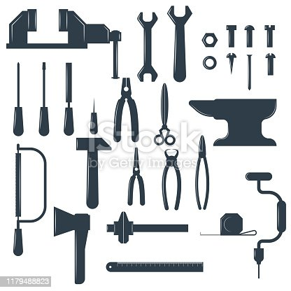 Set of locksmith tools isolated on white background big collection of hand tools items