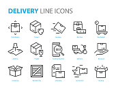 set of logistic icons, such as delivery, box, transport, distribution, send