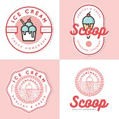 Set of logo, badges, banners, emblem and elements for ice cream shop - Vector illustration