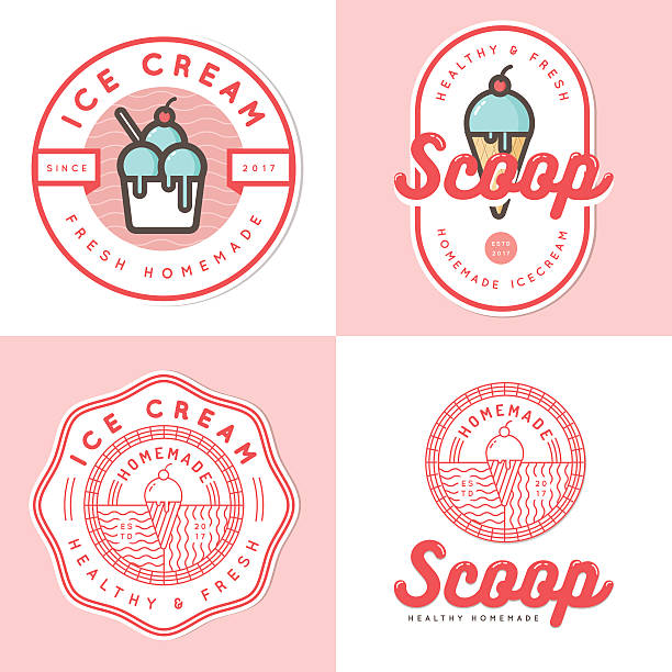 Set of logo, badges, banners, elements for ice cream shop. Set of logo, badges, banners, emblem and elements for ice cream shop - Vector illustration ice cream sundae stock illustrations