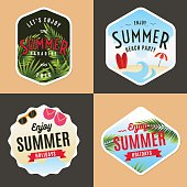 Set of logo, badges elements for summer holidays. Beach party.