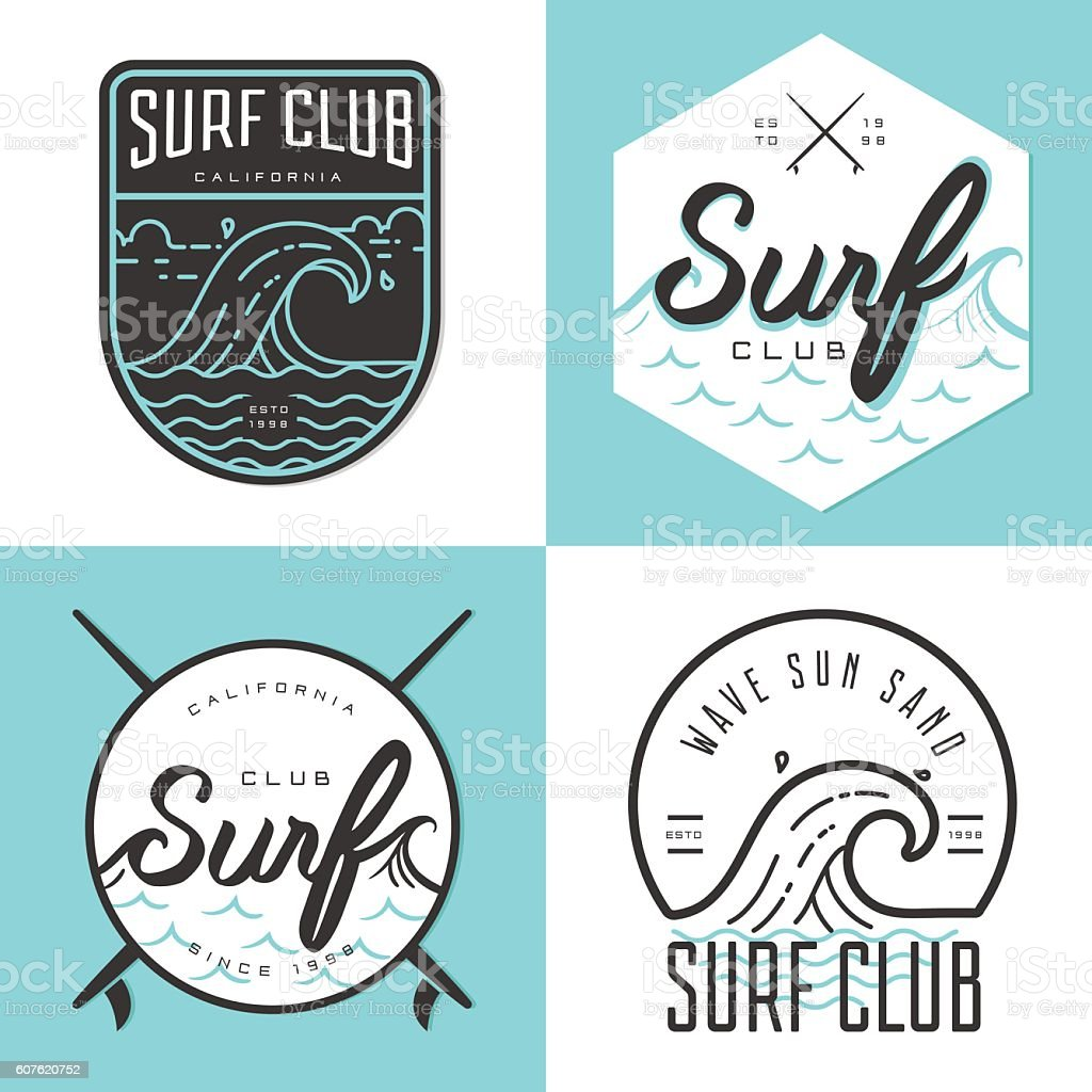 Set of logo, badges, emblem and elements for surfing club. ベクターアートイラスト