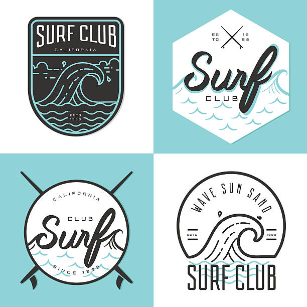 Set of logo, badges, emblem and elements for surfing club. vector art illustration