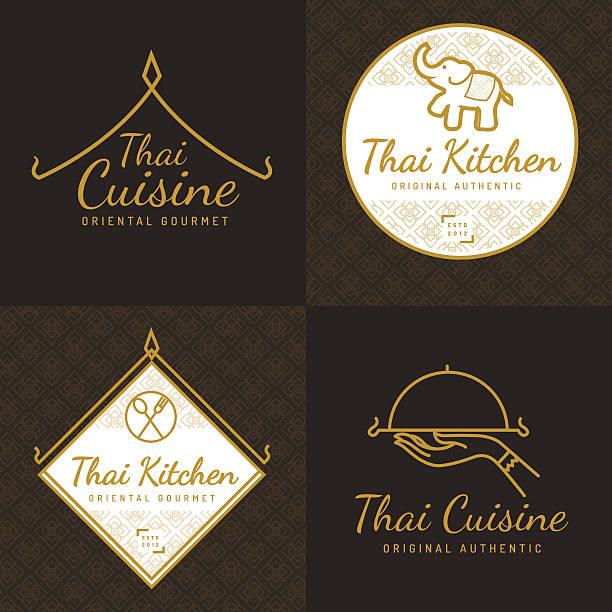 zestaw logo, odznaki dla azjatyckiej restauracji spożywczej. - tajlandia stock illustrations