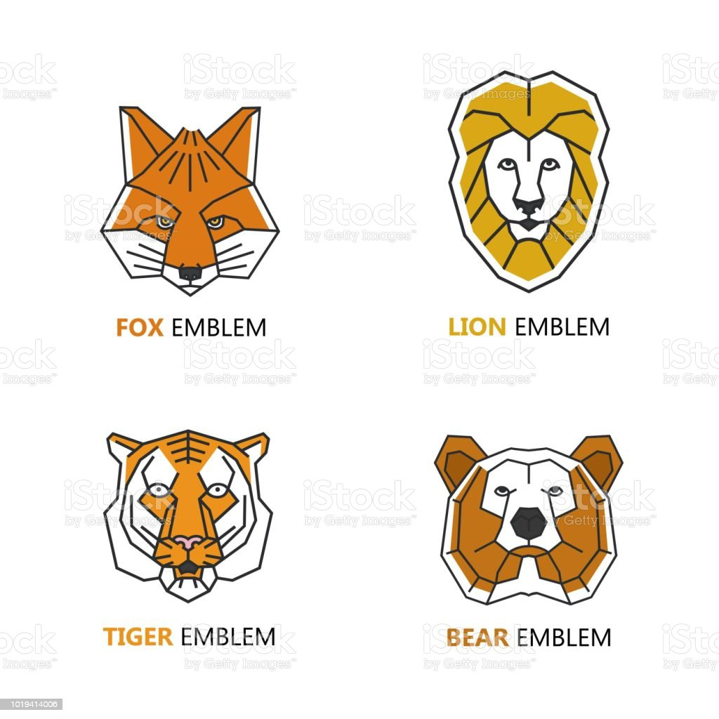 Set of logo design templates in linear geometric style - fox. tiger, bear and fox heads. vector art illustration
