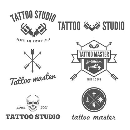 Set of logo, emblem, badge, print, sticker and logotype elements