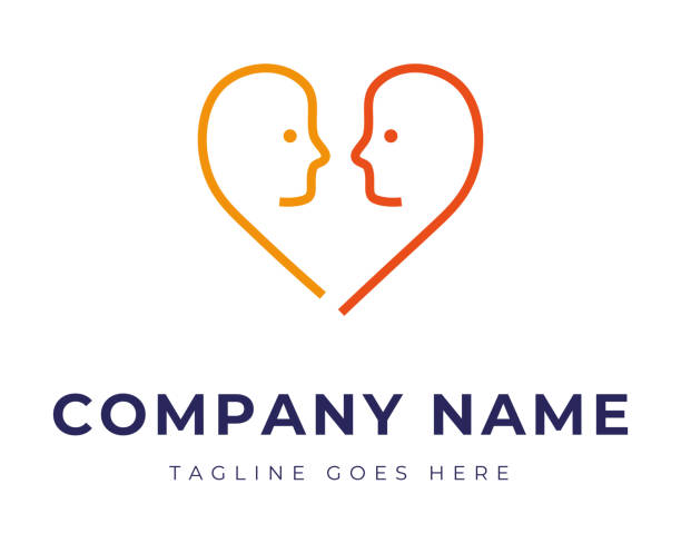 Set of logo identity with two faces in the shape of heart for couple therapy relationship problems vector art illustration