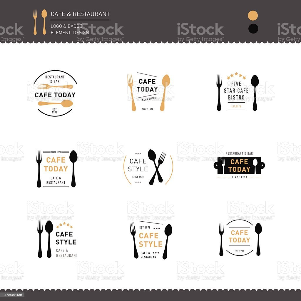 Set of Logo Restaurant and Cafe design icon vector art illustration