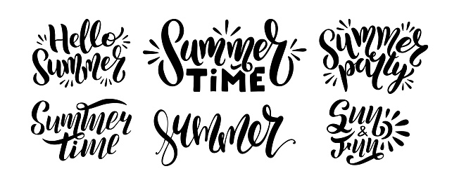 Set of logo text - hello summer, summer time, party, sun and fun.