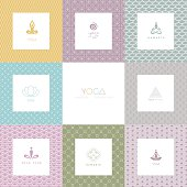 Vector illustration of Set of logos and patterns for a yoga studio
