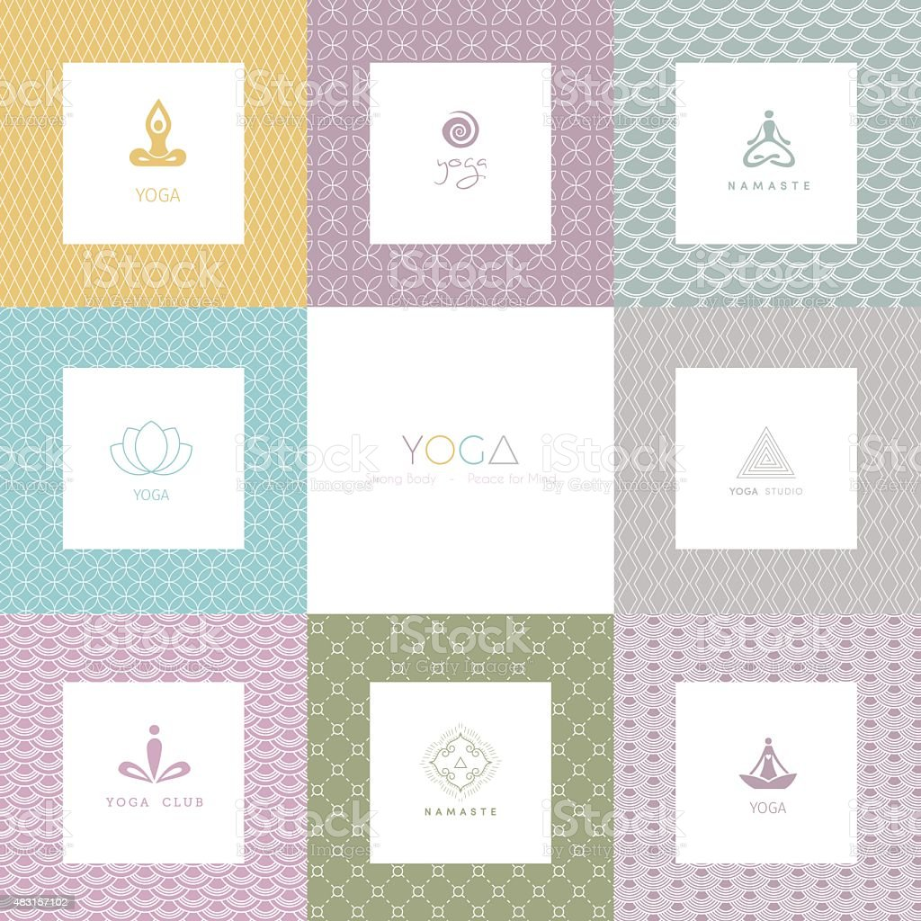 Set of logos and patterns for a yoga studio vector art illustration