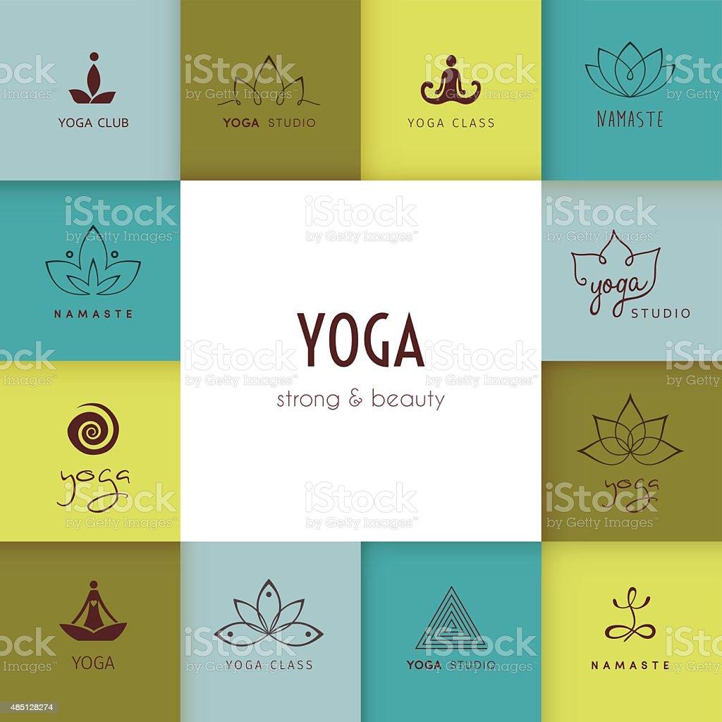 Conjunto de logotipos para una clase de yoga studio - ilustración de arte vectorial