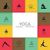 Vector illustration of Set of logos for a yoga studio
