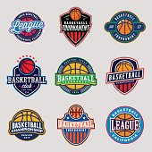 set of logos for basketball game events