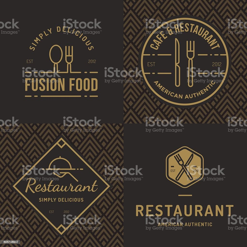Set of logos for food restaurant catering with seamless pattern. - ilustración de arte vectorial