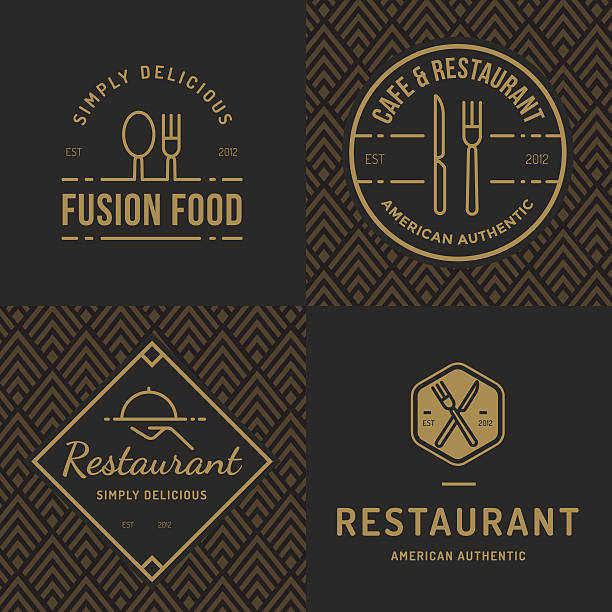set of logos for food restaurant catering with seamless pattern. - restaurants stock illustrations, clip art, cartoons, & icons