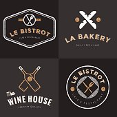 Set of logos for french food restaurant, bakery, wine, catering.