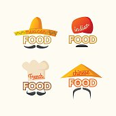 Set of logos Mexican, Chinese, Indian, French cuisine.