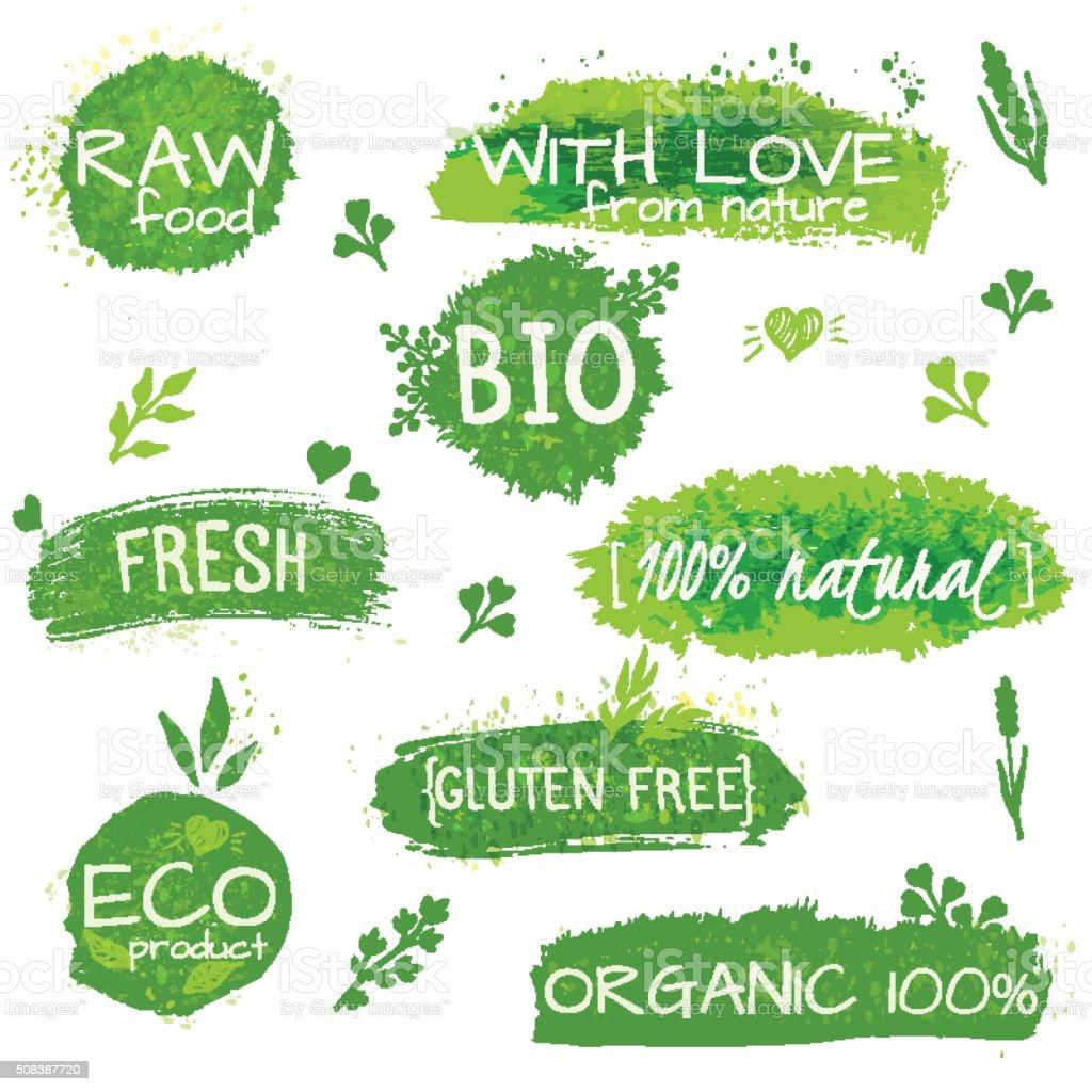 Set of logos, stamps, badges, labels for natural eco products vector art illustration