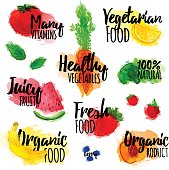 Set of logos, stamps, badges, labels for natural products, healthy food, organic. Fruit, berry and vegetable elements with watercolor texture. Vector