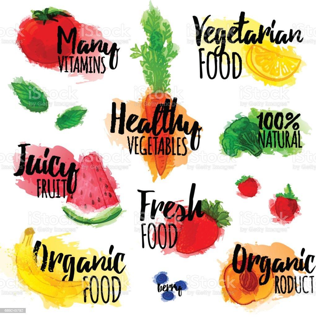 Jeu de timbres, badges, logos, étiquettes de produits naturels, des aliments sains, biologiques. Fruits, baies et légumes éléments avec texture aquarelle. Vector. - Illustration vectorielle
