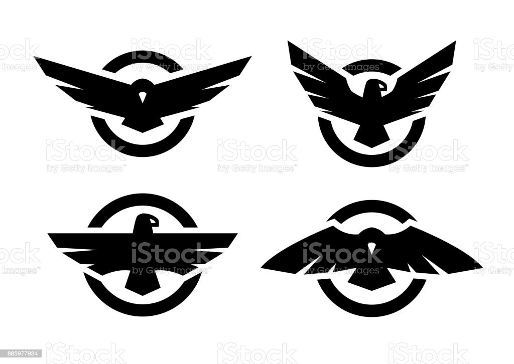 Set of logos with an eagle silhouette. vector art illustration