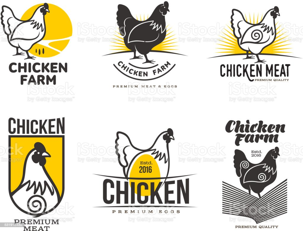 set of logos with chicken vector art illustration