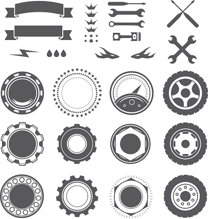 Set of logotype element for mechanic, garage, car repair, service