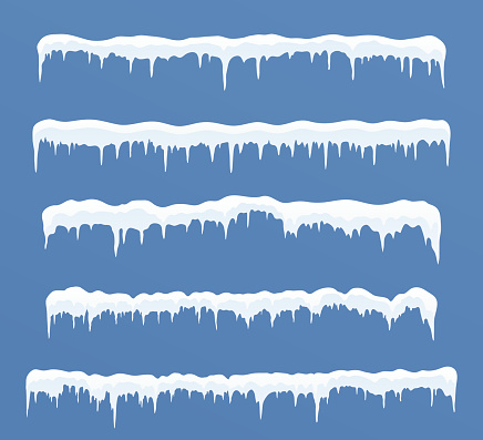 Set of long ice caps. Snowdrifts, icicles, elements winter decor.