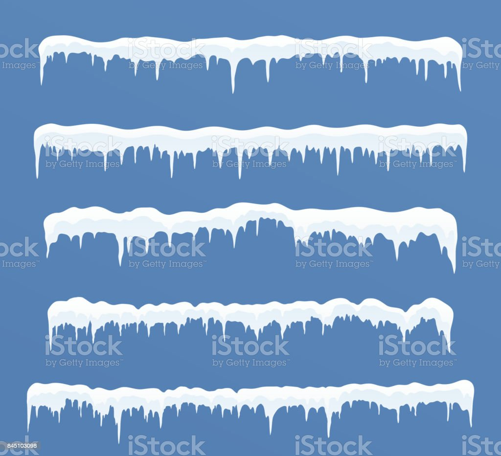 Set of long ice caps. Snowdrifts, icicles, elements winter decor. vector art illustration