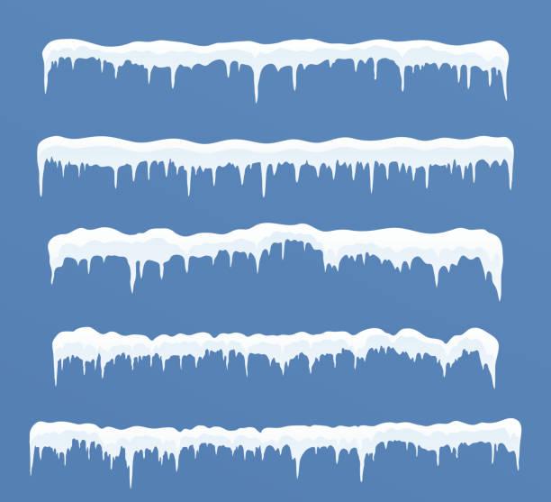 satz von langen eiskappen. schneeverwehungen, eiszapfen, elemente winter dekor. - eiszapfen stock-grafiken, -clipart, -cartoons und -symbole