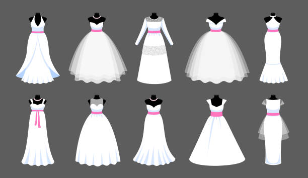 A set of long white dresses with pink ribbons. Collection of mannequins dressed in wedding clothes. Vector illustration for shop, boutique, fashion house, tailor salon. wedding dress stock illustrations