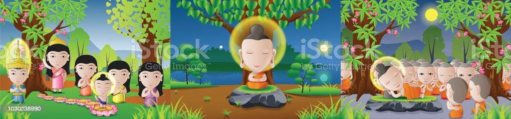 conjunto de Señor Buddha nacida, iluminar y en versión de dibujos animados, utilizado bien para días importantes del budismo - ilustración de arte vectorial