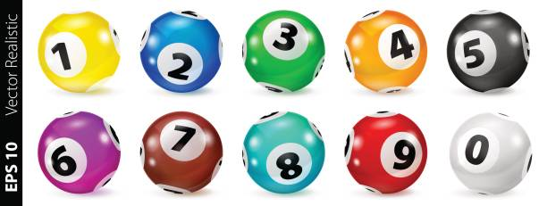 Set of Lottery Colored Number Balls 0-9 Vector Colorful Bingo. Lottery Number Balls. Colored balls isolated. Bingo ball. Bingo balls with numbers. Set of colored balls. Realistic vector. Lotto concept. lottery stock illustrations