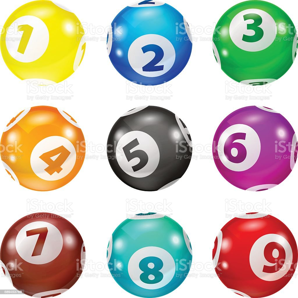 Set of Lottery Colored Number Balls vector art illustration