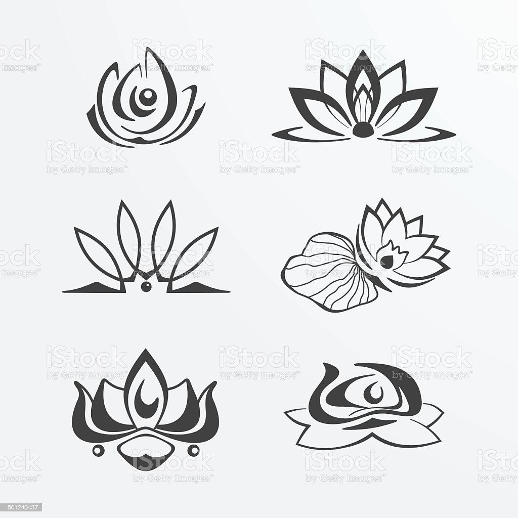 Set of lotuses vector art illustration